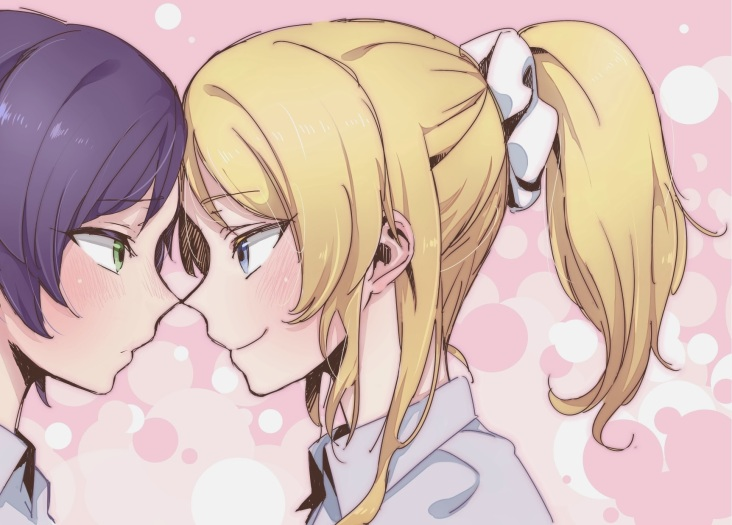 Konachan.com - 167957 2girls ayase_eri blonde_hair blue_eyes blush green_eyes gyarin love_live!_school_idol_project ponytail purple_hair toujou_nozomi yuri