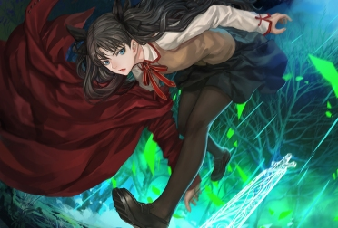 Konachan.com - 190830 black_hair blue_eyes fate_stay_night long_hair pantyhose seifuku skirt tohsaka_rin twintails zhouran