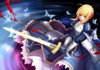 Konachan.com - 191382 armor blonde_hair blood butterfly dress fate_stay_night green_eyes saber sword weapon yomi_yasou